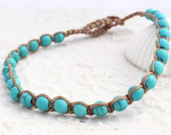 Turquoise beaded anklet, macrame designed to be worn always anklet, dyed howlite, ladies anklet, women's anklet beach boho wear, gemstones