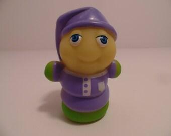 1986 GLOW WORM Purple Cap/Shirt -Glow BugFriends (Finger Puppet)