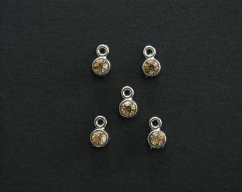Tiny Champagne Rhinestone Charms, Silver Tone, 0.8cm X 0.5cm, Set of 5