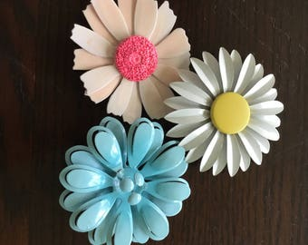 Bouquet of 1960s Enameled Flower Brooches