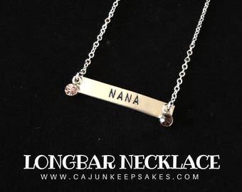 Longbar Necklace | Custom | Personalized Hand Stamped Jewelry