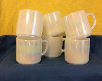 FEDERAL GLASS ~ Moonglow Iridescent Stacking Stackable Mugs with 'D' Handle ~ Set of 6 ~ Mid Century Coffee Mugs ~ Milk Glass