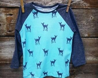 Kids Raglan Shirt Fawns Blue and Gray