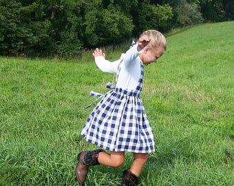 Girls Gingham Pinafore Dress Tie Back Straps