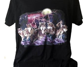 Wolf Night Hunt Lightning Printed Black Cotton T shirt
