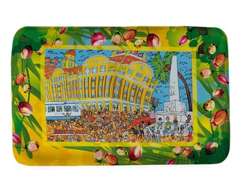 Extra large bathmat for Amsterdam lovers! Hippies on Dam Square. De Bijenkorf. High-end department store. Prints from original artwork.