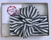 Gray and White Striped Headwrap, Grey and White Head Wrap, Baby Headwrap, Toddler Headwrap, Striped Headwrap, Lively Mae Bow Co