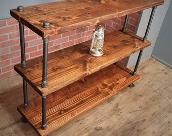 Custom Rustic Industrial Shelf Steampunk Bookshelf Solid Wood Black Steel  Pipe
