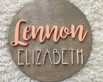 "24"" Round Custom Name Wood Sign • Wood Cutout • Nursery Decor • Name Cutout • Wood Cutout • Custom • Nursery Name Sign • Wood Decor"