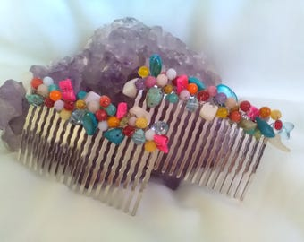 Peinecillos Crystal and Pearl, Peinecillos Many colors, Flemish hair, lady's complement, hair bride, guest, Mother's Day