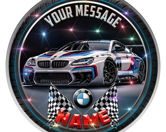 BMW M6 GT3 Personalised Edible Icing Birthday Cake Topper Decoration 7.6""