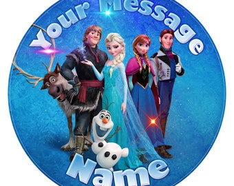 Frozen Inspired Personalised Edible Icing. Birthday Cake Topper Decoration 7.5""