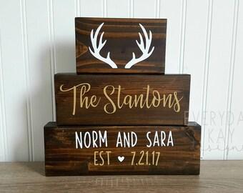 WEDDING BLOCK SET, rustic wedding decor, personalized wedding block, established wedding sign, deer decor, wedding gift, bridal shower,