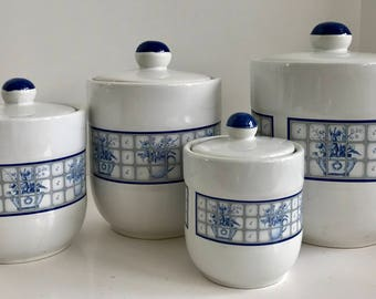 Pomerautz Stoneware White and Blue 4 Piece Canister Set