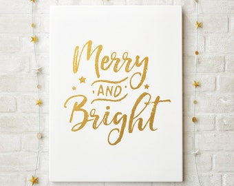 Merry and Bright Gold Foil Christmas Printable; Merry and Bright Gold Christmas Decor; Instant Digital Print; Gold Foil Holiday Decoration