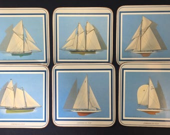 Set of Six (6) Pimpernel Coasters - Sailing Ships - Made in England
