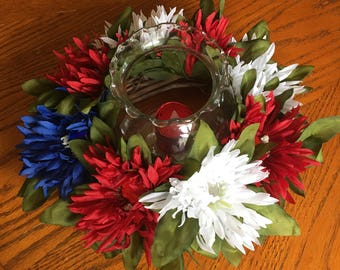Ready to Ship - Patriotic Candle Centerpiece - 4th of July centerpiece - July 4th centerpiece - Red White and Blue - Independence Day Wreath