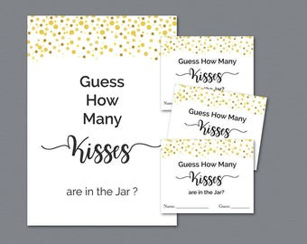 How Many Kisses in the Jar, Guess How Many Kisses, Gold Confetti Bridal Shower Games Printable, Wedding Shower, Instant Download, A015