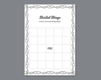 Bridal Bingo Cards Template, Empty Bridal Bingo Printable, Bachelorette Bingo, Bridal Shower Games, Barb Wire, Fence, Country Style, A023