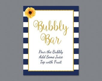 Bubbly Bar Sign Printable, Mimosa Bar Sign, Bridal Shower Decorations, Navy Blue Stripes, Kate Spade Wedding Sign, Cocktail Drink Sign, A027