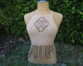 "Tank top ""geometry"" top with fringes 100% cotton handmade color beige"