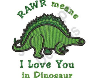 Dinosaur Love - Machine Embroidery Design