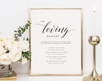in loving memory template free - memorial table etsy