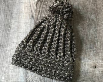 Brown Black Adult Bulky Crochet Ribbed Beanie, Toque, Winter Hat