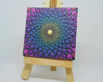 ORIGINAL Hand Painted Mini Mandala Canvas on Mini Easel - Acrylic Painting