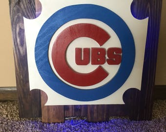 Chicago Cubs Lighted Pallet Logo-16 Different Color options/remote included-Free Shipping