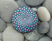 Purple & Turquoise Mandala Stone - Painted Stone -Hand-Painted Meditation Mandala Rock - Home Decor - Mandala Art - Rock Art - Paperweight