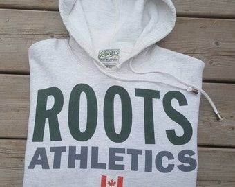 Roots Canada Heathered White Vintage 90s Hoodie Women's Size XS Roots Athletics