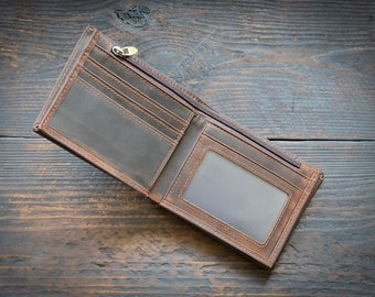 Brown leather wallet, Zipper wallet, Leather wallet, Mens wallets, Mens anniversary, Gift for him, Vintage desing wallet