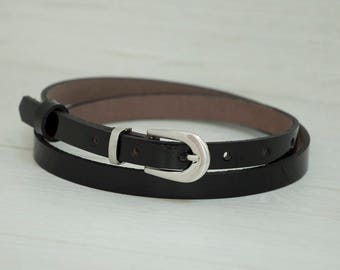 Leather Belt, Black Patent Leather Belt, Black Patent Leather Womens Belt, Skinny Belt, Thin Belt, Dress Belt
