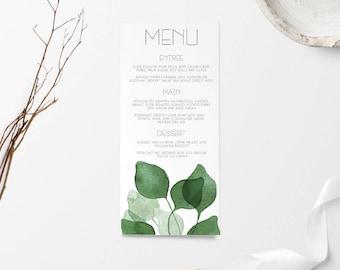 Wedding Menu, Wedding Menus, Wedding Menu Card, Menu, Wedding Signage, Wedding Sign, Printable Wedding Menu, Printable Menu, Green Menu