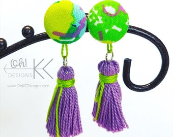 Lavender and lime button cover tassel earrings