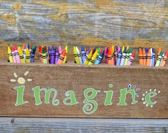 IMAGINE sugar mold organizer, Art supply organizer, Sugar mold crayon holder, Craft room organizer, Rustic desk caddy, Crayon caddy