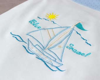 baby boy blanket personalized, newborn gift, baby shower gift, infant cotton blanket, baby gift, blue baby blanket, swaddling blanket