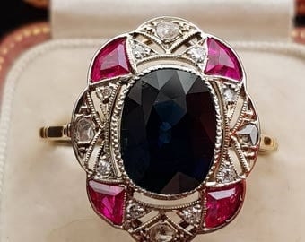 1920s Sapphire, Ruby, and Diamond 18k gold engagement ring