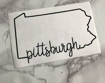 Pittsburgh Pennsylvania Outline Calligraphy Decal