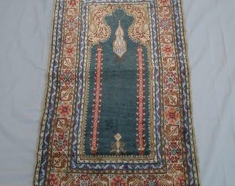 Handmade Vintage Kashmiri Silk Prayer Rug,