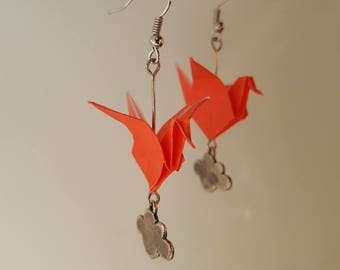 Red crane origami earrings