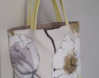 Floral fabric and yellow faux leather handbag