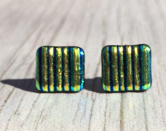 Dichroic Fused Glass Stud Earrings - Yellow Green Ridged Texture Dichroic with Sterling Silver Posts