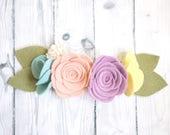 Felt flower headband, Unicorn headband, Rainbow headband, Nylon headband, Felt flower crown, Baby headband, newborn headband, littlt mermaid