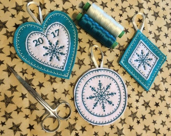 ITH Scandi Christmas Tree Decorations Patterns. Set of 3. 4x4 - Easy. By Pixie Willow Patterns