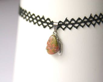 Unakite Choker, Lace Necklace, Unakite Pendant, Unakite Gemstone, Unakite Necklace, Unakite Jewelry
