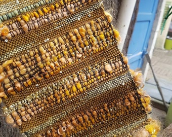 woven scarf mohair yellow, mustard and gold threads