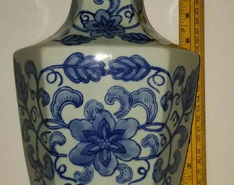 Antique Chinese Celadon Blue and off White Vase ( Qianlong marked)