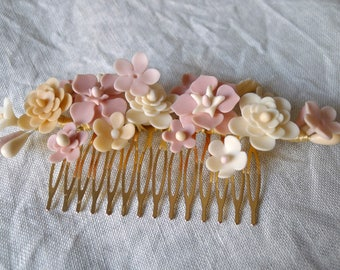 Headdress of flowers nude, peinecillo of flowers, Wedding Hair Comb Bridal headpiece, Wedding headpiece, Floral headpiece, bridal hair comb